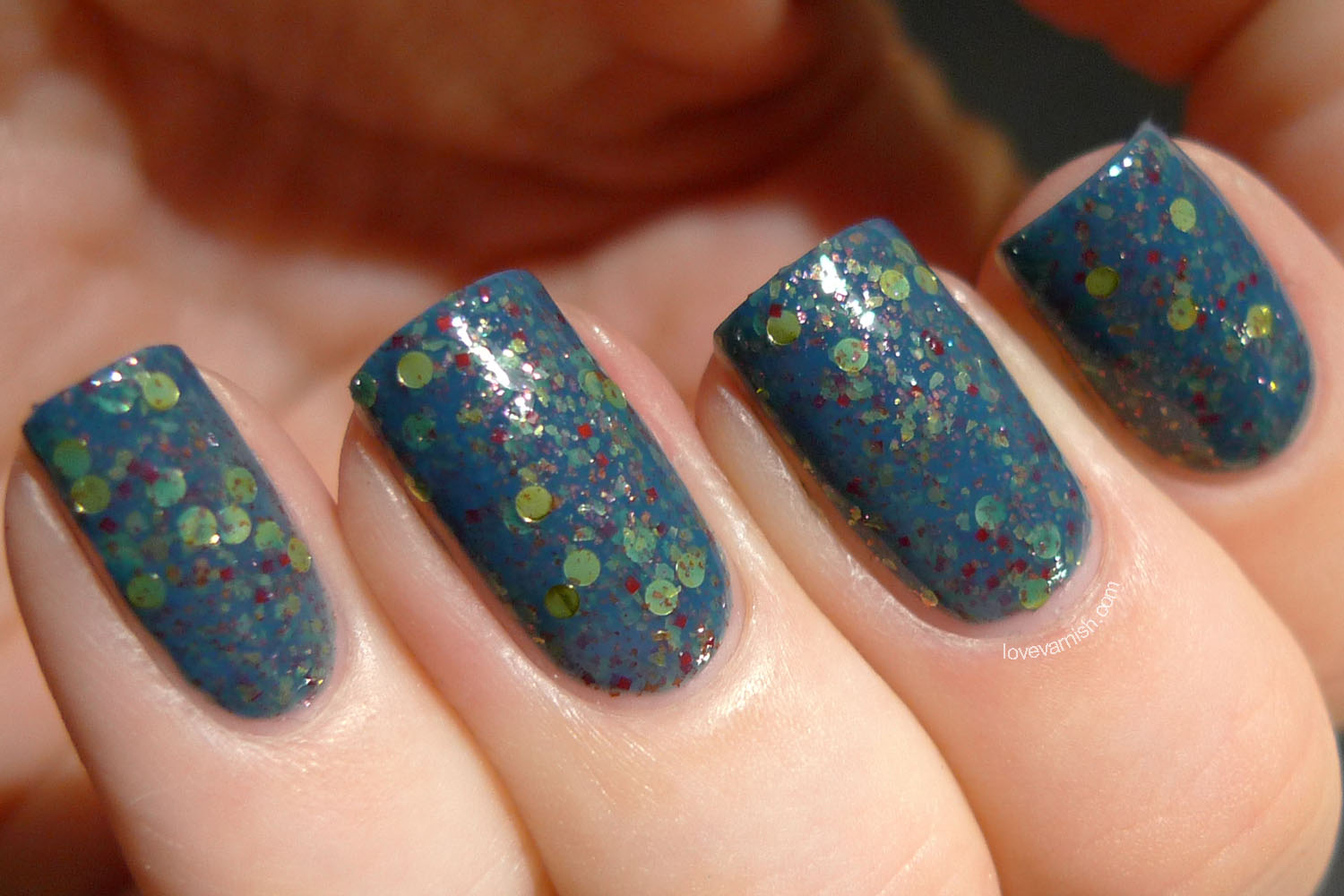 HARE Bohemian Holiday Wonderland Wanderlust dusty blue glitter nail polish