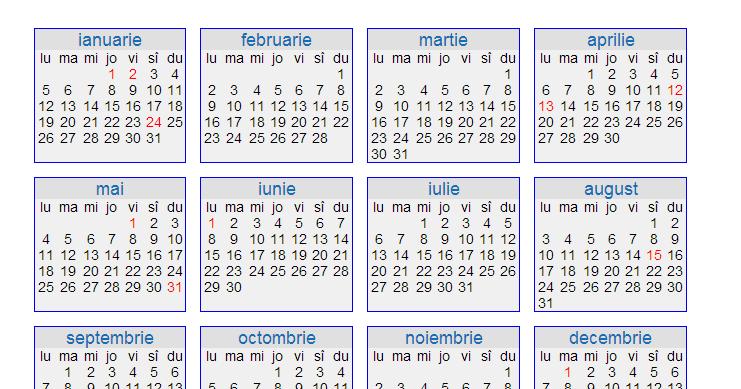 Calendar pe saptamani 2015