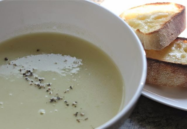 CREAM OF CELERY SOUP WITH CHEESE TOASTS