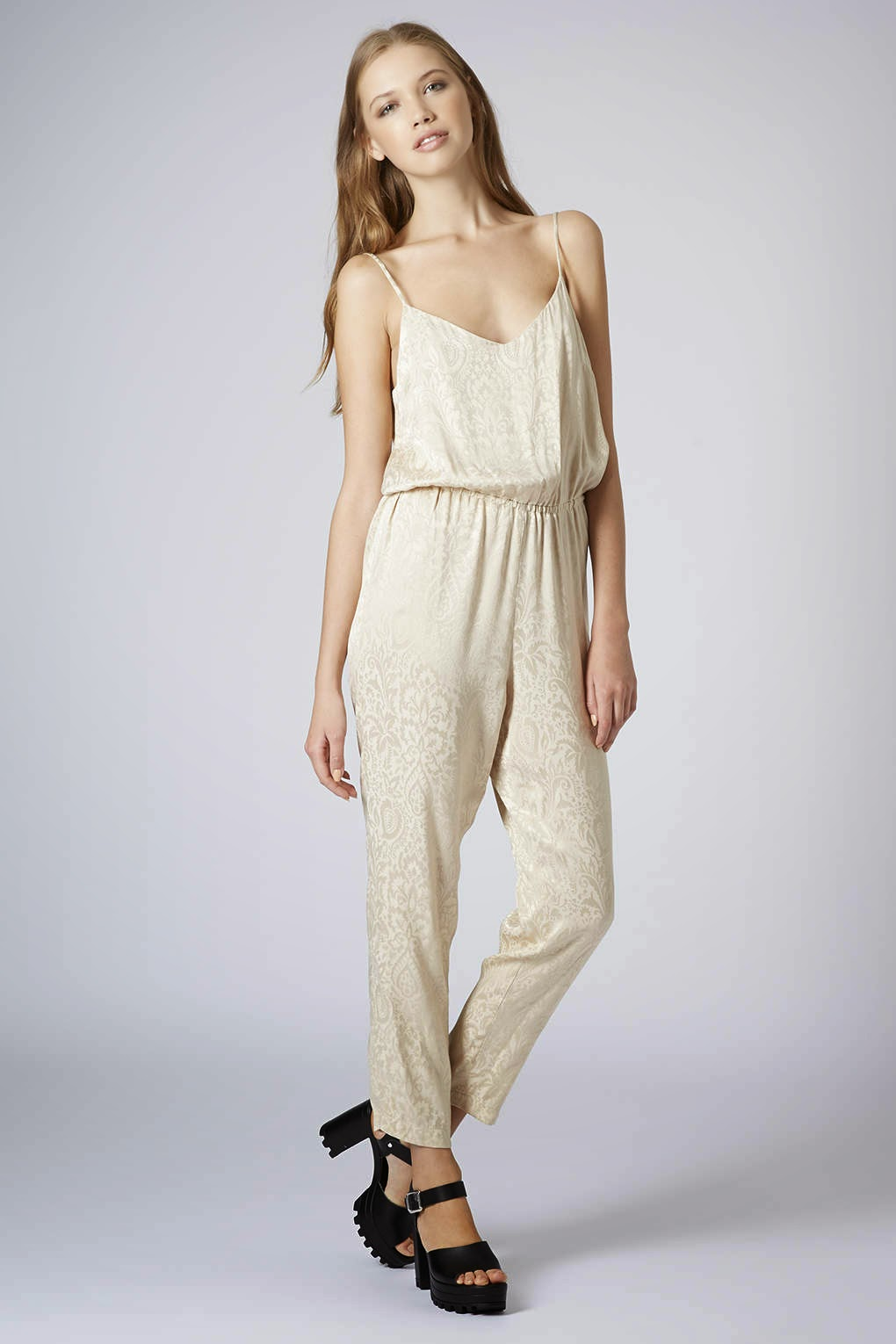 cream satin jumpsuit