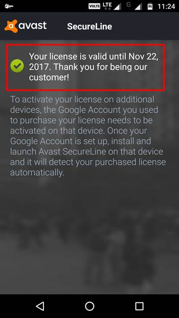 Avast secureline license for android