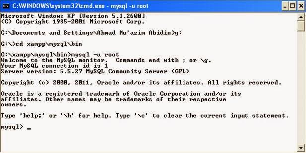 Manajemen Data Base - Login CMD dengan user root