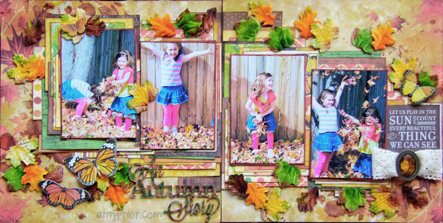 Scraps of Darkness scrapbook kits: Double Page Multi Photo Fall Layout Tutorial by Amy - using our Nov. Amy's Amazing Autumn kit.