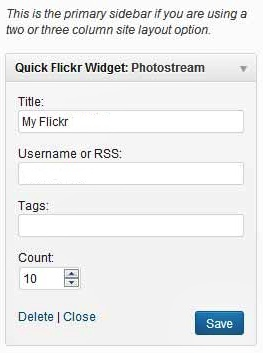Flickr Widget In WordPress Blog