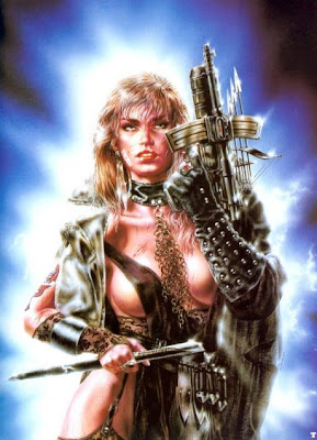heavy metal fantasy art warrior babe with weapons