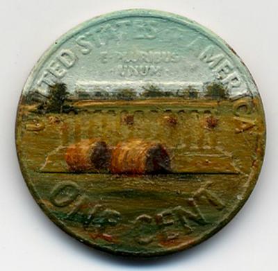 لوحات زيتية دقيقة ومدهشة على العملات المعدنية الصغيرة  Penny-paintings-550x537