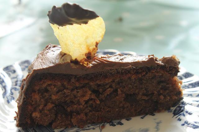 Chocolate Potato Cake with chocolate dipped potato crisp on top