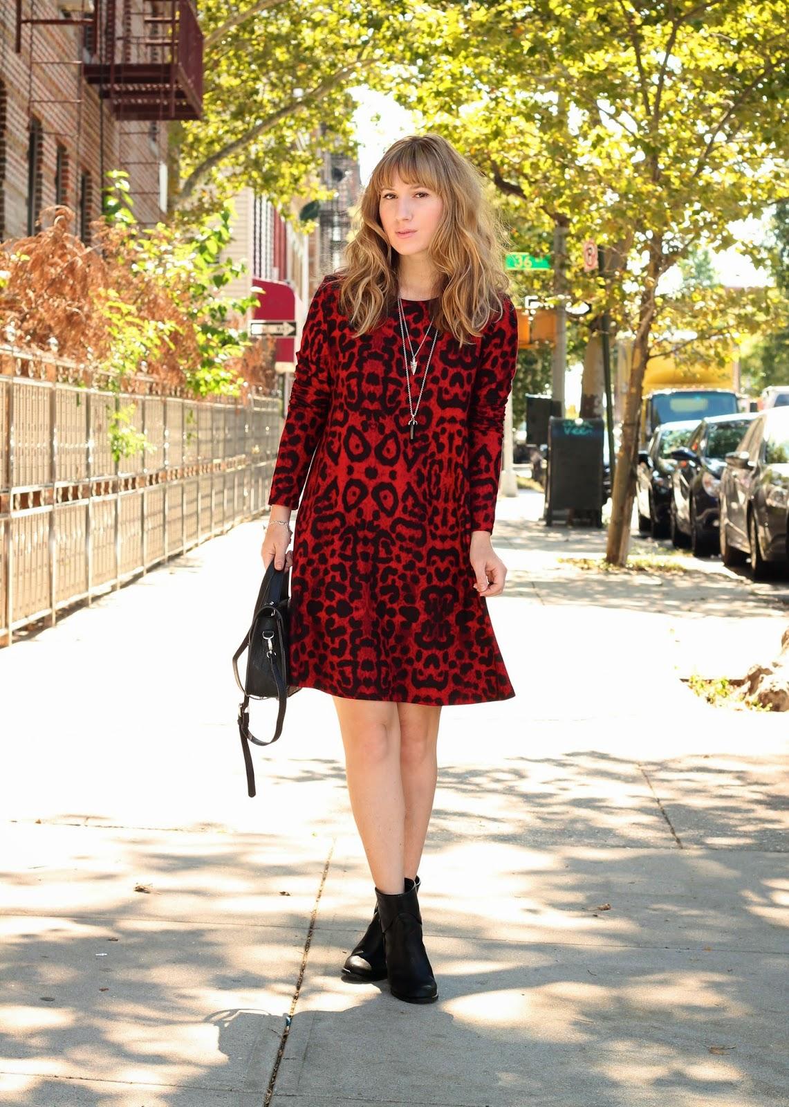 mod, grunge, glam grunge, leopard, swing dress, boots, boots & dress