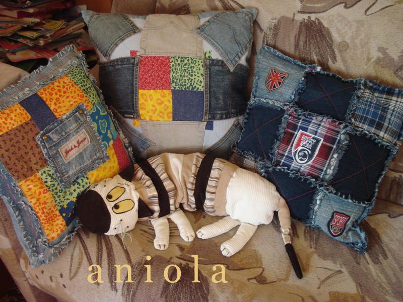 Подушка из джинсовых лоскутков своими руками 40