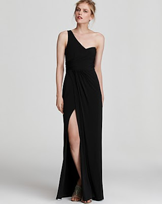 Laundry by Shelli Segal Shirred One-Shoulder Gown