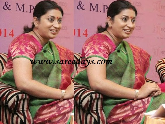 Latest saree designs smriti irani in green bhagalpuri silk saree checkout smriti irani in green bhagalpuri silk saree with pink banarasi border and paired with contrast short sleeves blouse altavistaventures Image collections