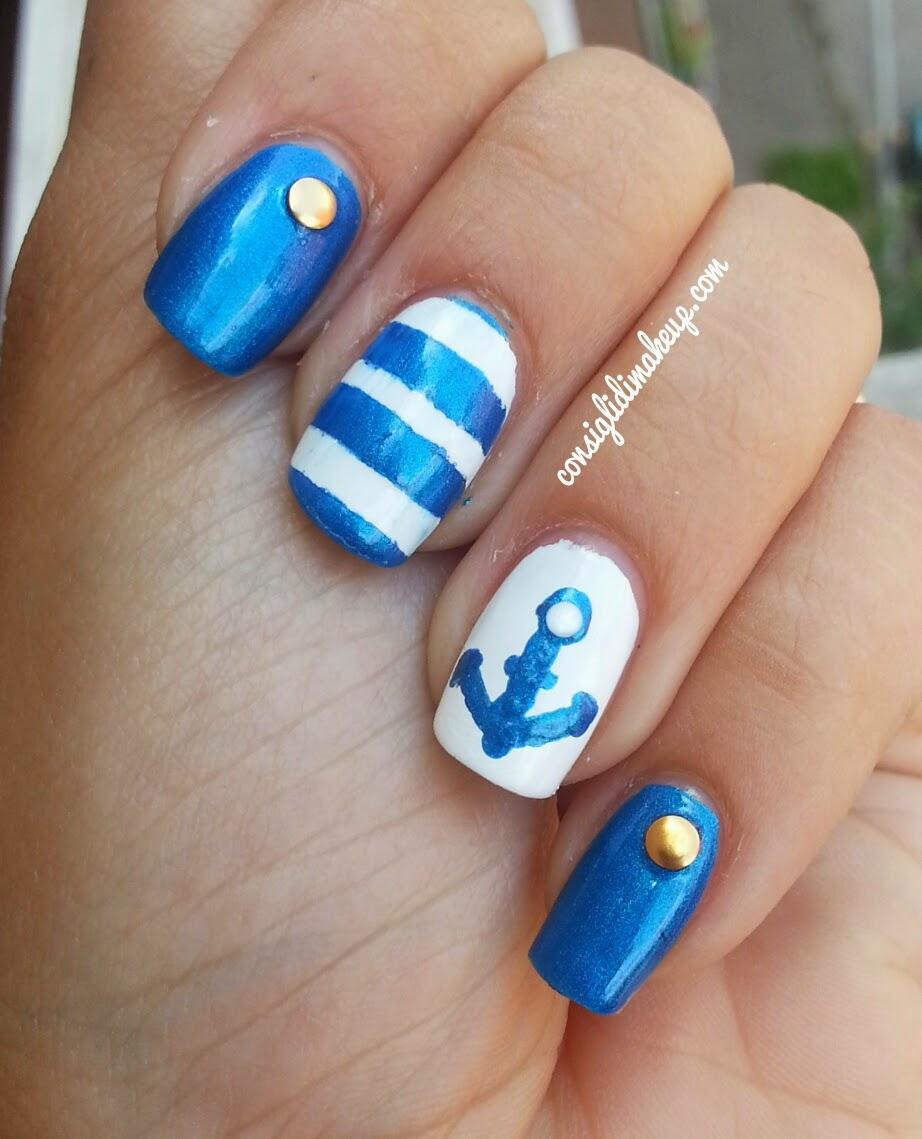 Tutorial Nail Art Navy