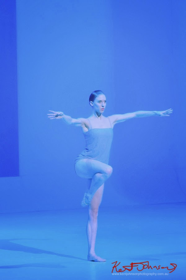 Ballerina on single leg, The Australian Ballet - CHROMA - Preview & Dress Rehearsal - Photographed by Kent Johnson.