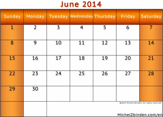 Calendar June 2014 : June calendar printable