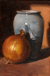 Oil painting of a brown onion beside a light blue porcelain vase.
