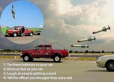 Raketen Ballons ans Auto binden