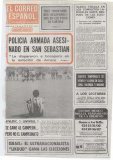 Portada del diario El Correo tras el partido de vuelta