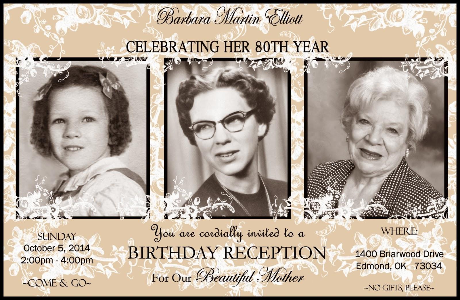 Mother 80th Birthday Card