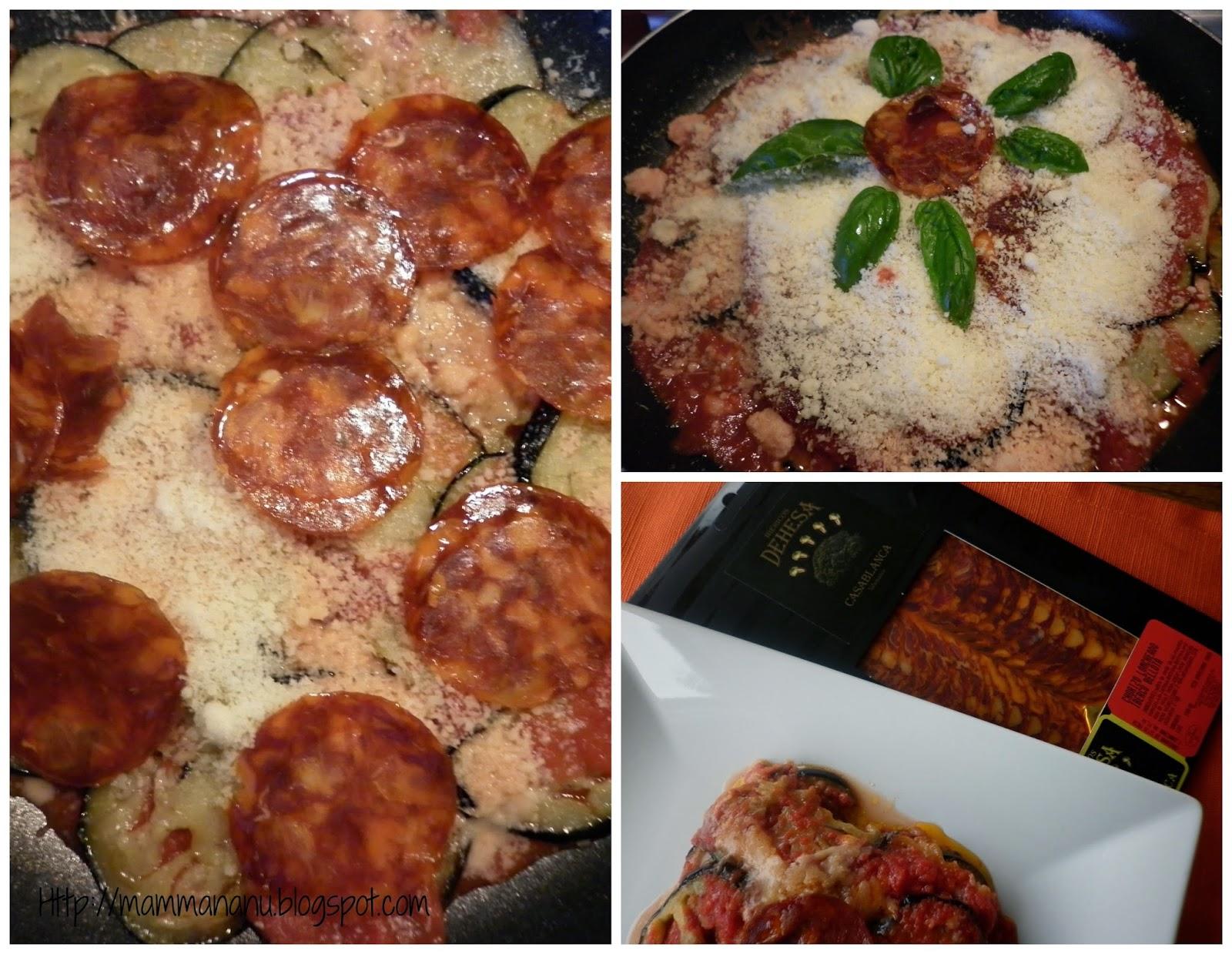 parmigiana di melanzane con un tocco in più ...chorizo loncheado iberico bellota