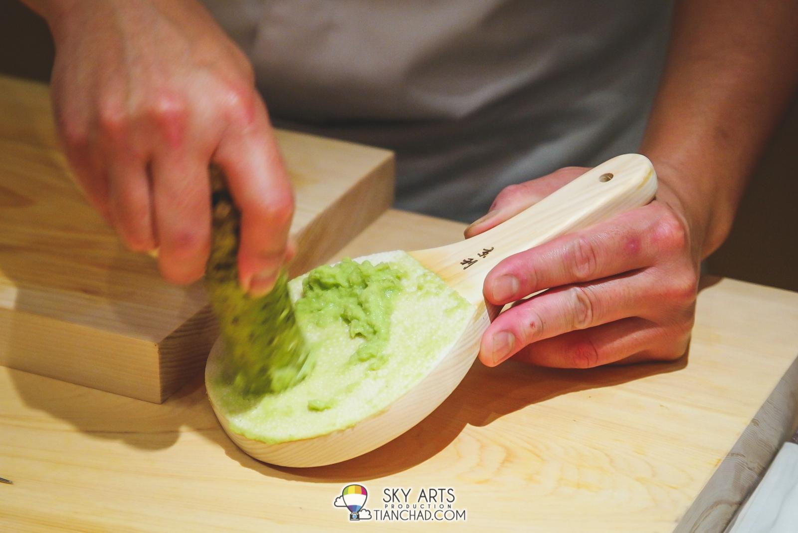 Fresh wasabi in the making