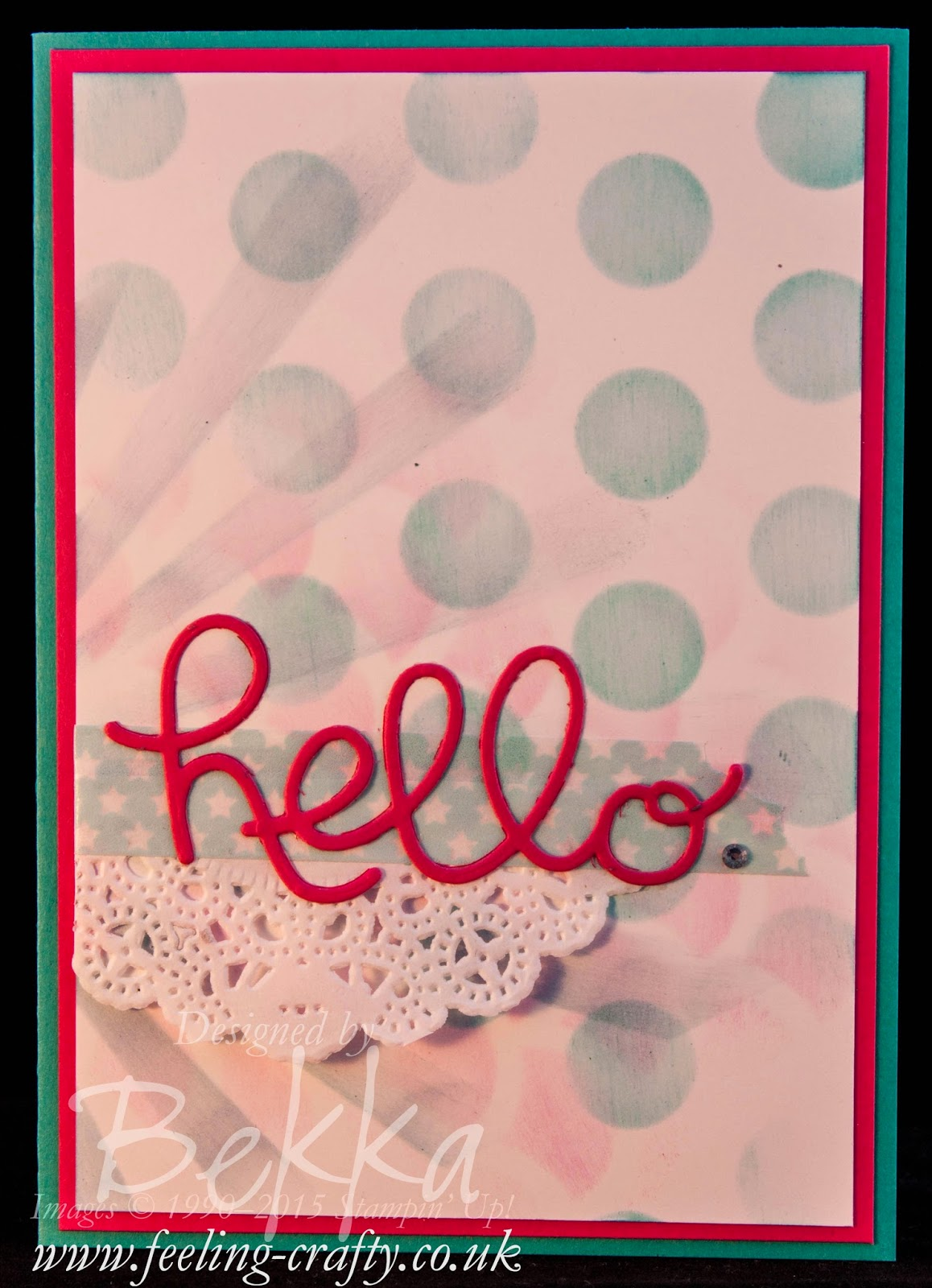 Hello Card with a Stenciled Background - check out the details here