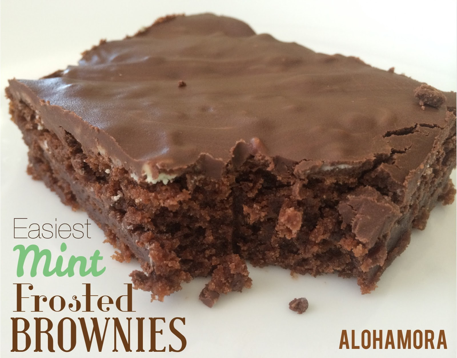 Easiest to make EVER Mint Frosted Brownies.  Just like BYU Mint Brownies or any Mint Frosted Brownies but super easy to make using boxed brownies and Andes Baking Chips.  Alohamora Open a Book http://alohamoraopenabook.blogspot.com/