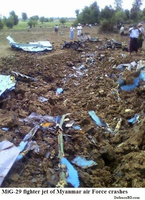Mig-29 of Myanmar Air Force crashed