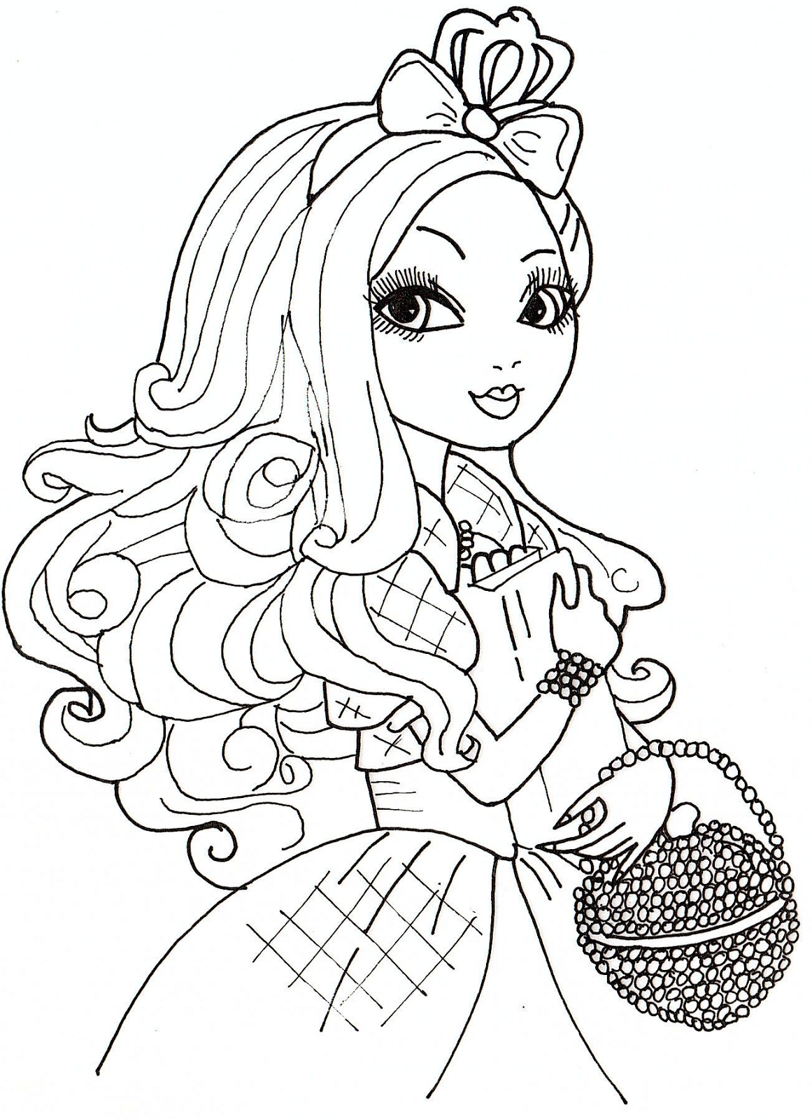 Ever after high coloring pictures - Free Ever After High Apple White Coloring Sheet