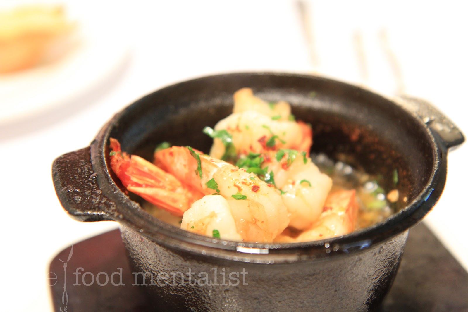 sizzling hot pot prawns