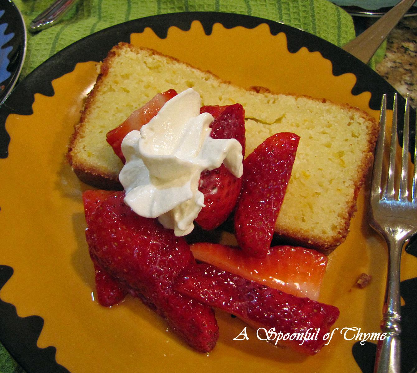 Ricotta Orange Pound Cake With Strawberries