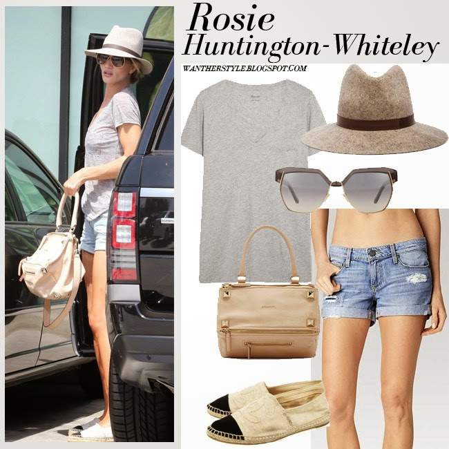 Rosie Huntington-Whiteley in grey Madewell t-shirt, denim shorts Paige Jimmy Jimmy, felt hat Janessa Leone Julia and beige bag givenchy Pandora want her style inspiration