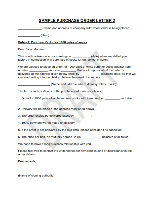 Free Sample Of Purchase order Letter 1 – Purchase Order Letter Format