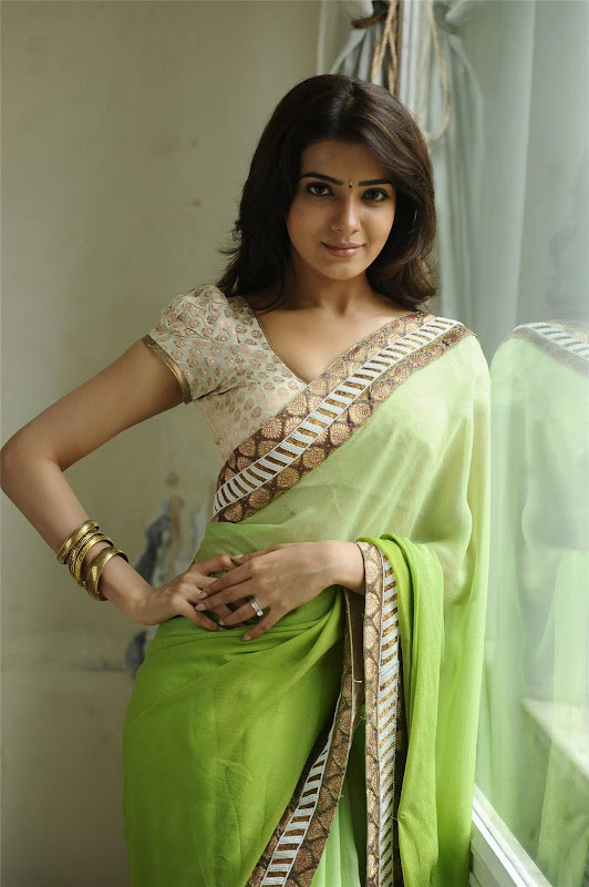 Telugu Lovely Actress Samantha Exclusive Cute Saree Stills hot images