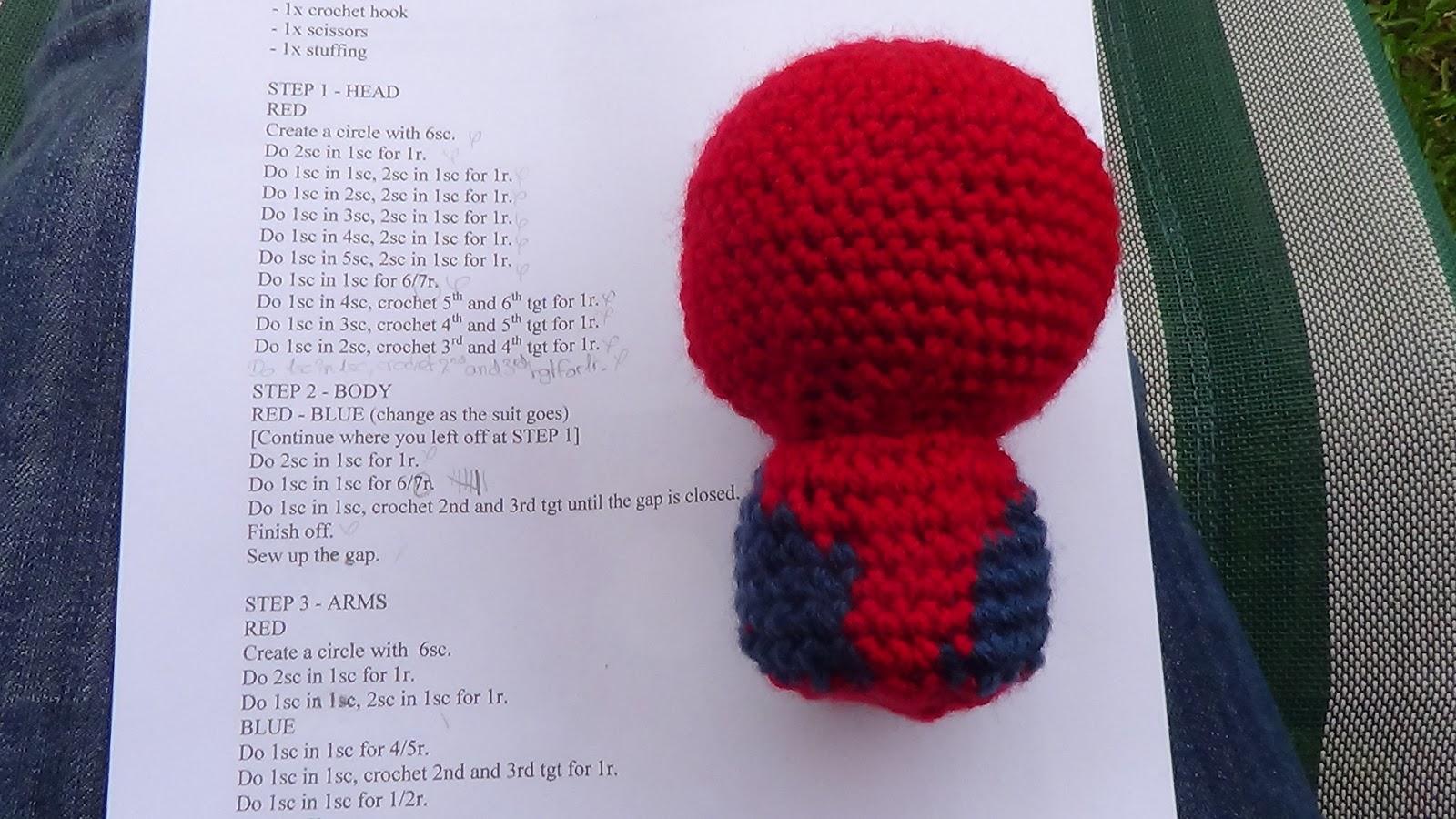 Knitting Pattern For Spiderman Doll : Crochet and Knitting 101: Spiderman Doll - Crochet