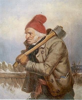 The Woodcutter', oil painting by Cornelius Krieghoff, 1.5 x 9.2 in., William Doyle Galleries