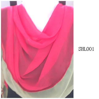 shawl halfmoon 2 layer red coral