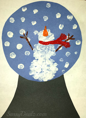 fingerprint snow globe snowman craft winter