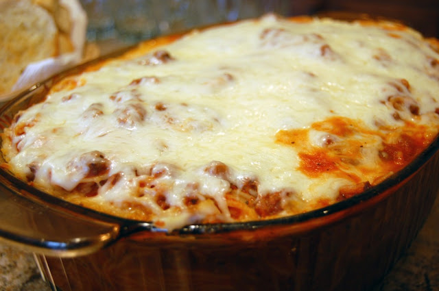 Cheesy Baked Spaghetti Recipe