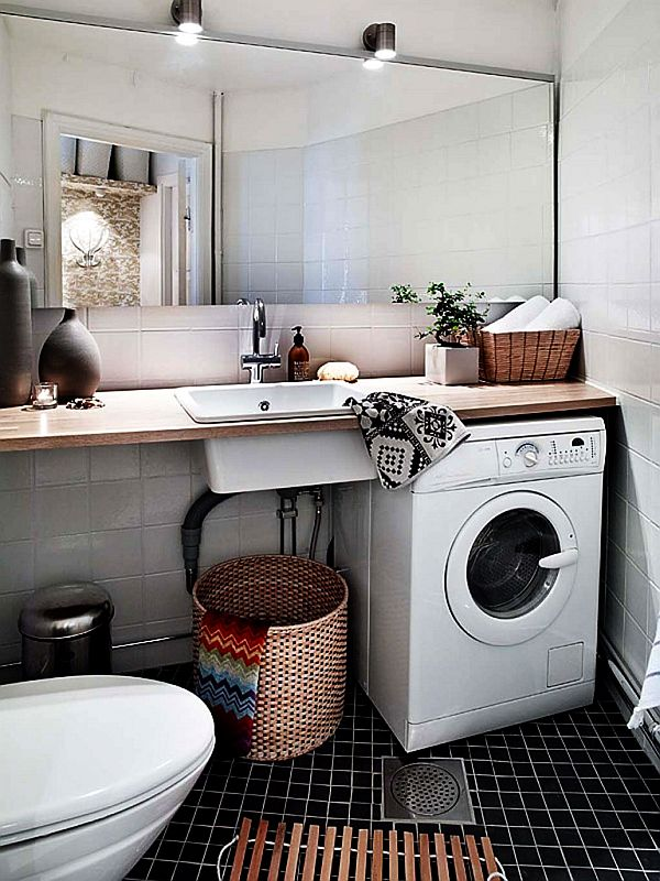 10 beautiful small laundry room design ideas for Small bathroom designs with washing machine