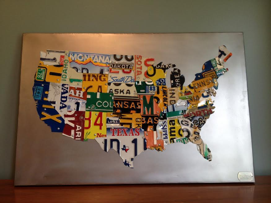 The Tin Snip Times: Up for bid: 30 x 20 License Plate Map of USA on ...