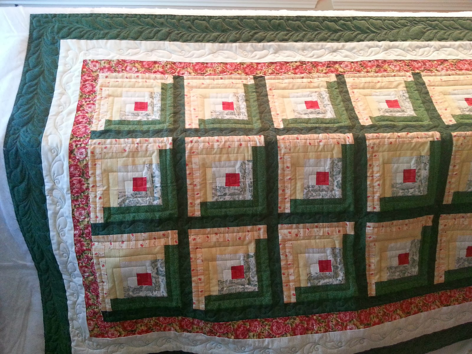 Sweet traditional log cabin quilt for Traditional log cabin plans