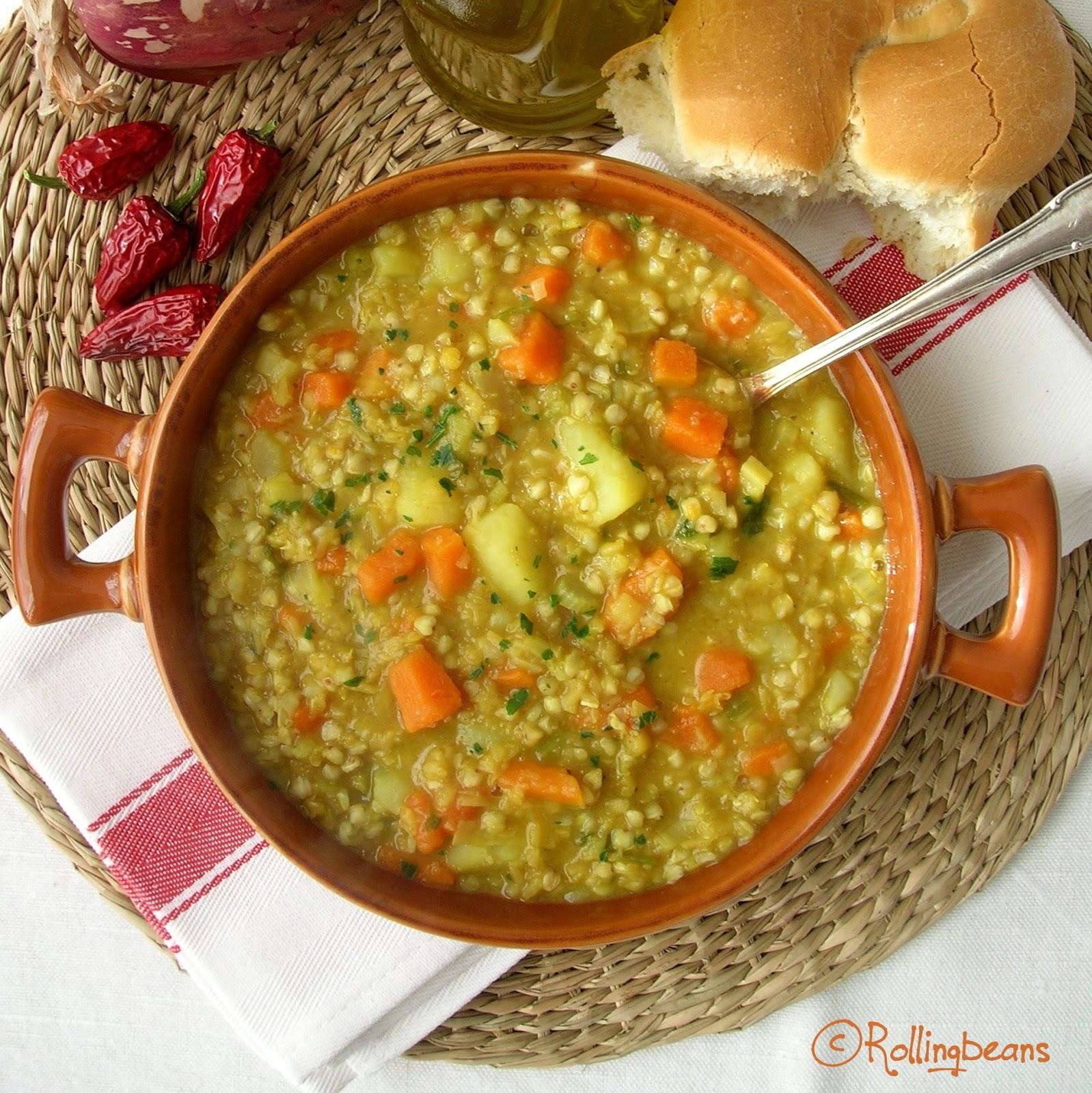 zuppa di grano saraceno e lenticchie rosse (vegan,gluten free)