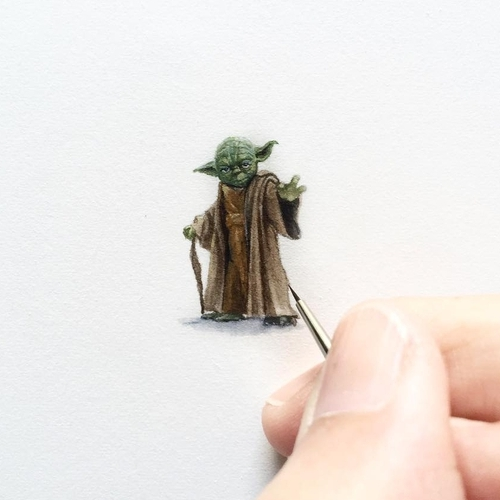01-Jedi-Master-Yoda-Karen-Libecap-Star-Wars-&-other-Miniature-Paintings-and-drawings-www-designstack-co
