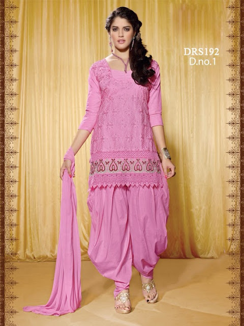 Buy Online Cambric Cotton Patiala Style Dress Material
