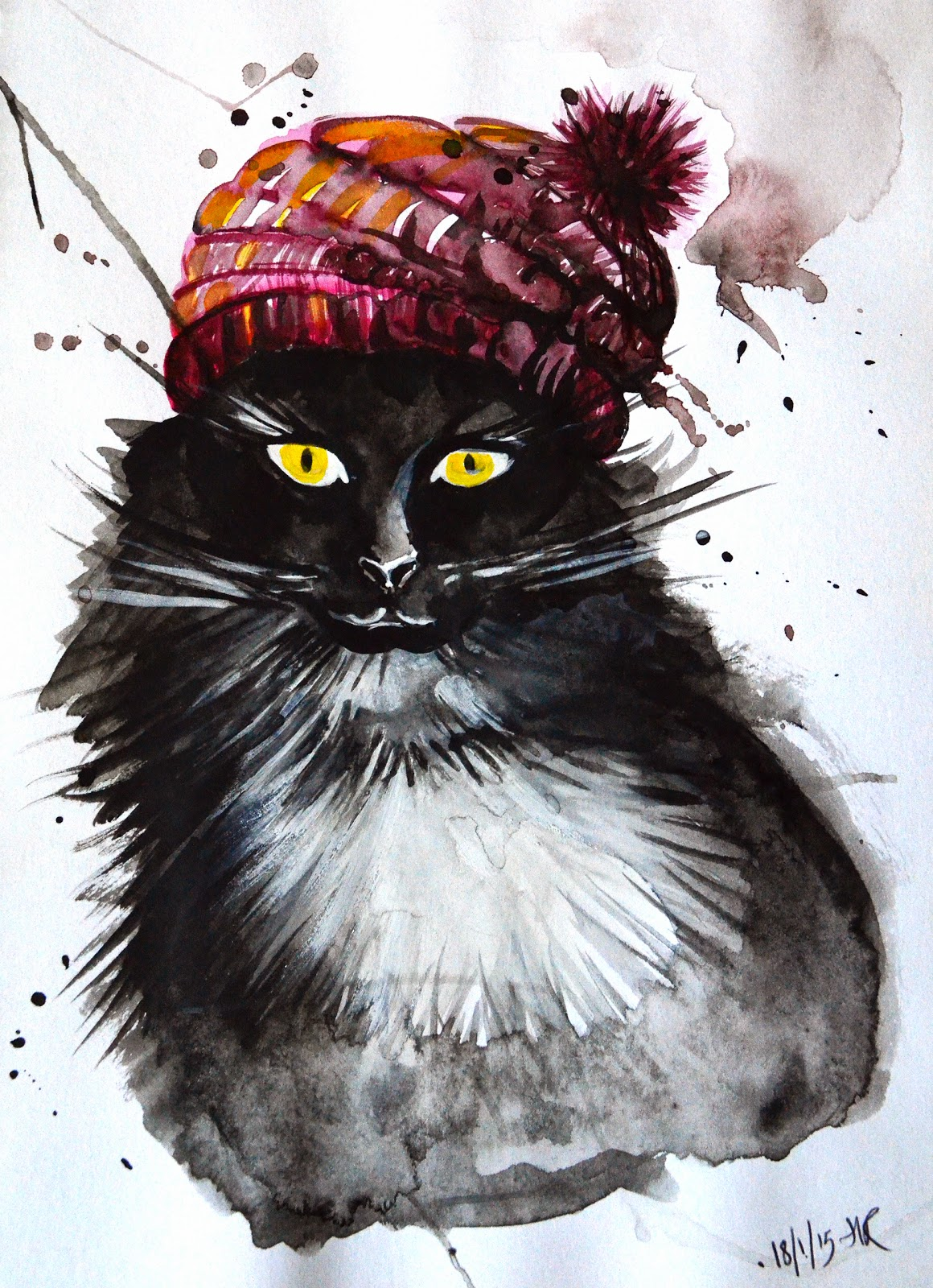 Hannah Redden - Cat in a Hat in Watercolour