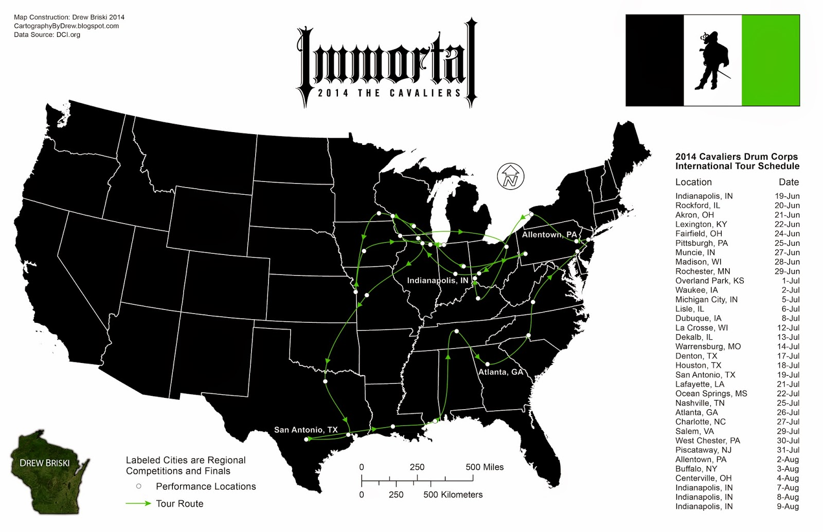 affiliated with drum corps international dci the cavaliers drum and bugle corps or any of theirs or dci s partner organizations this map was created