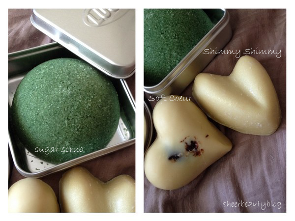 picture of lush sugar scrub and message bars shimmy shimmy and soft coeur