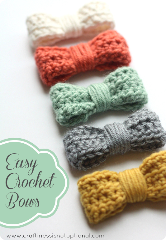 Crocheting Easy Projects : Easy crochet bow tutorial/pattern