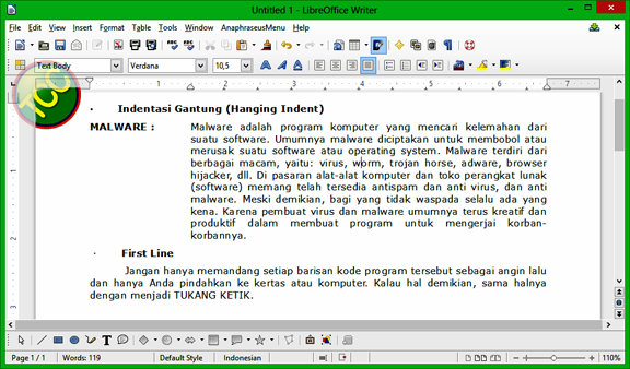 pengaturan indentasi pada libreoffice