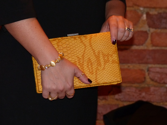 Yellow clutch from TJ Maxx and DIY bracelets